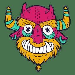 Ilustração de diabo de cara de monstro