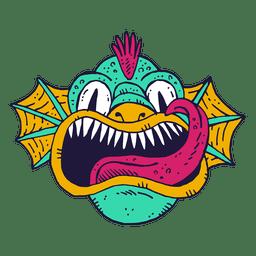 Monstruo cara ilustración de peces