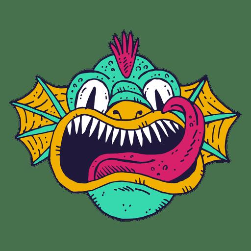Monster face fish illustration Transparent PNG