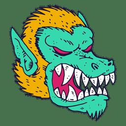 Ilustración de perro de cara de monstruo