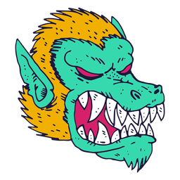 Monster Gesicht Jagdhund Illustration