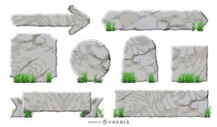 Conjunto de etiquetas e fitas com textura de rocha