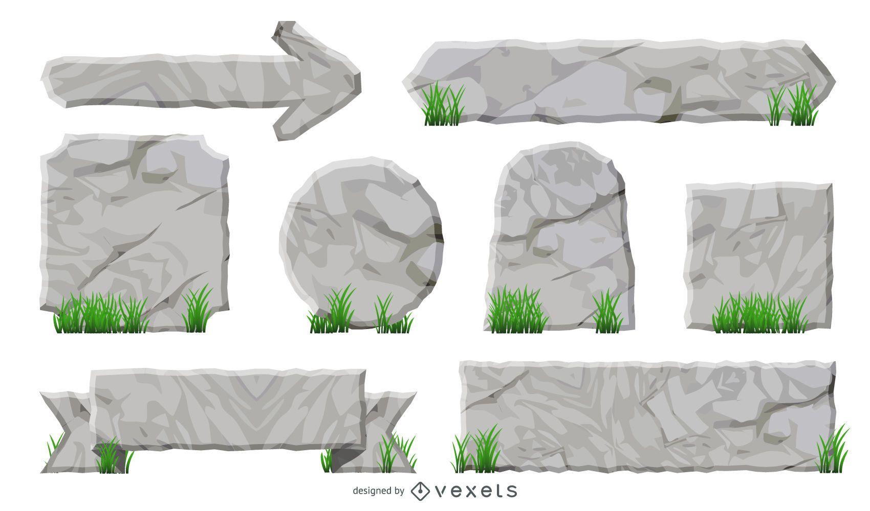 Conjunto de cintas y etiquetas con textura de roca