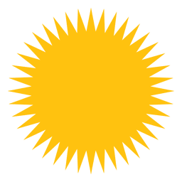 Sun filled sharp beams icon
