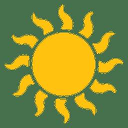 Icono de grandes rayos ondulados del sol.