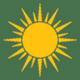 Raios acentuados do sol ícone grande e pequeno
