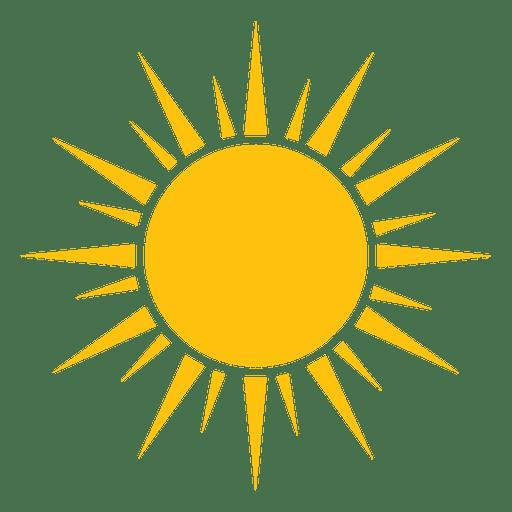 Ícone grande e pequeno de raios nítidos de sol