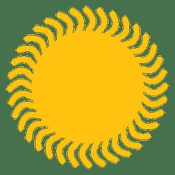 Icono de rayos de sol ondulado