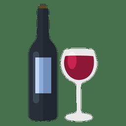 Botella de vino y el vidrio