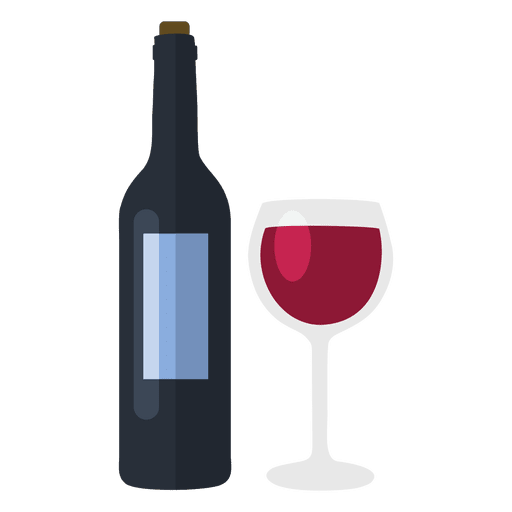 Wine bottle and glass Transparent PNG