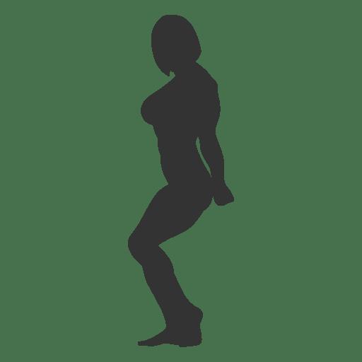 Woman bodybuilder triceps pose silhouette