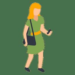 Mulher vestido verde, verificando a ilustração do telefone