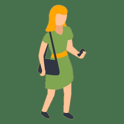 Woman green dress checking phone illustration Transparent PNG