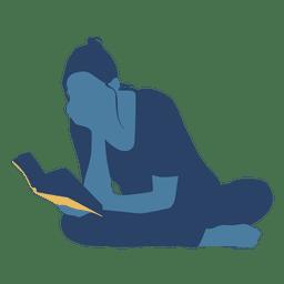 Woman reading book floor crossed legs silhouette
