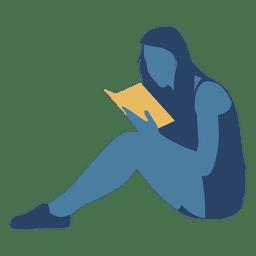 Mujer leyendo libro piso silueta