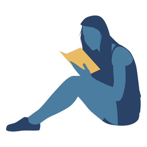Woman reading book floor silhouette Transparent PNG