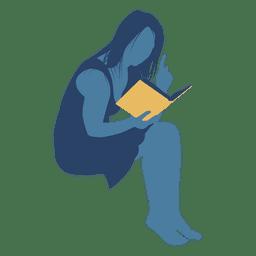 Mulher, leitura, livro, silueta