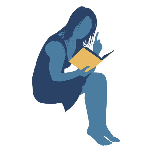 Mujer leyendo libro silueta