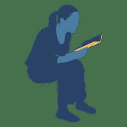 Mujer, lectura, libro, sentado, silueta