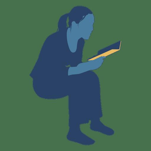 Libro de lectura de mujer sentado silueta Transparent PNG