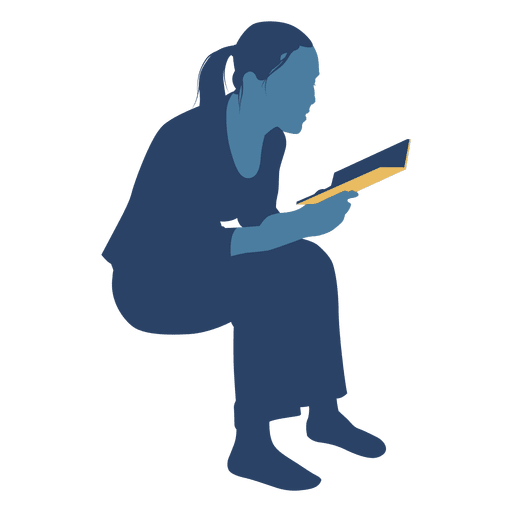 Woman reading book sitting silhouette Transparent PNG