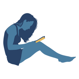 Mulher, livro leitura, parede, silueta