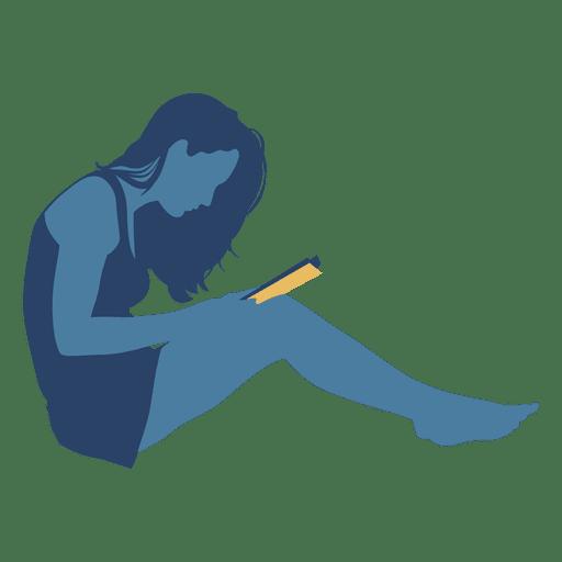 Mujer leyendo libro pared silueta