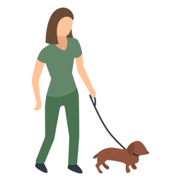 Mujer, ambulante, perro, ilustración