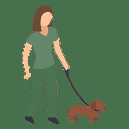Mulher andando, cão, ilustração