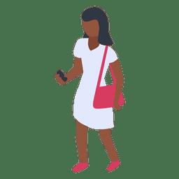 Mulher branca vestido verificando ilustração de telefone
