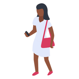 Woman white dress checking phone illustration