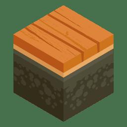 Paisagem isométrica da ponte de madeira