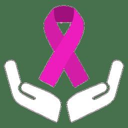 Fita do dia do câncer mundial arredondada pequena