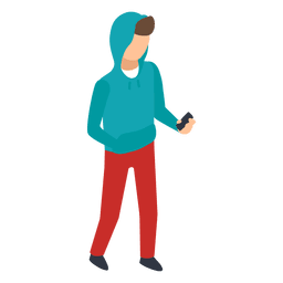Young checking phone illustration