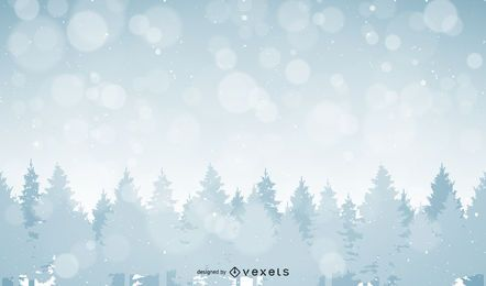 Forest landscape illustration with snow