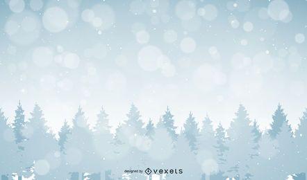 Ilustração da paisagem florestal com neve