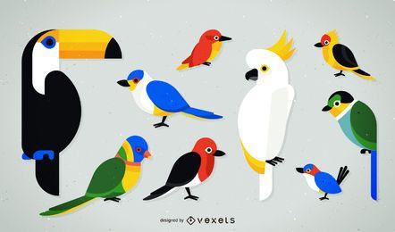 Conjunto de ilustración de aves tropicales planas