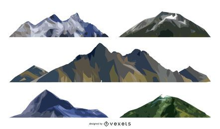 Isolated mountain illustration set