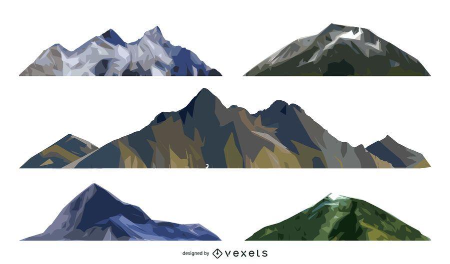 Isolated mountain illustration set