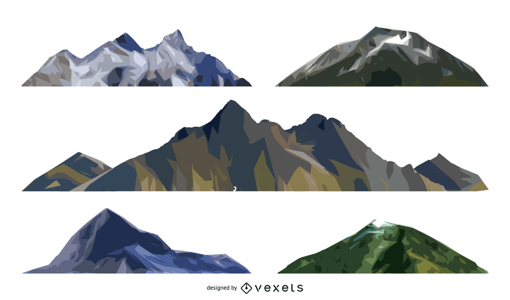 Isolated mountain illustration set - Vector download