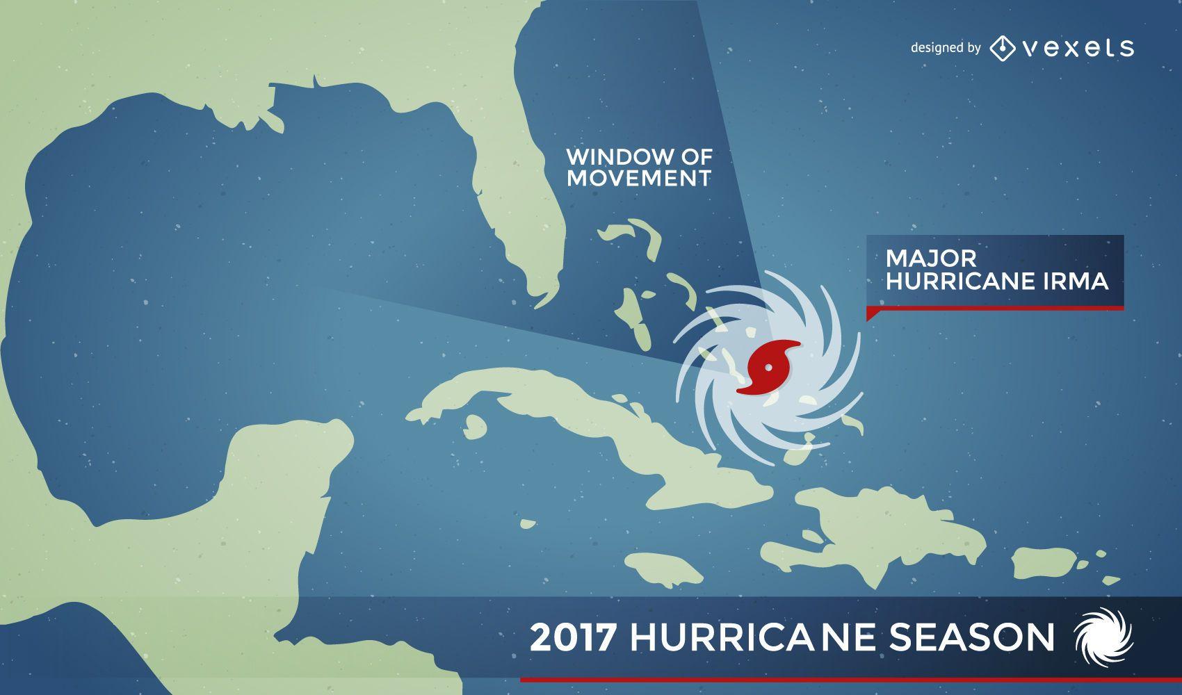alerta de mapa de huracán irma - descargar vector