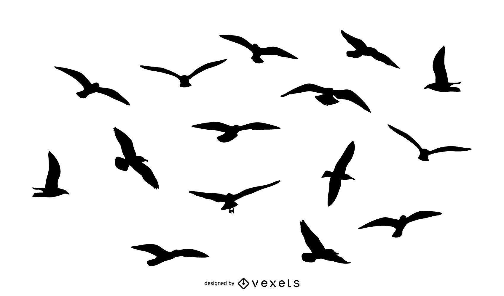 Pack de silueta de pájaros volando