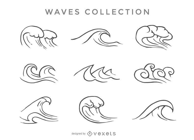 Conjunto de ondas ilustradas