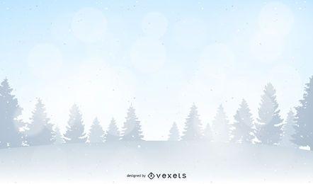 Ilustração da paisagem da floresta de inverno