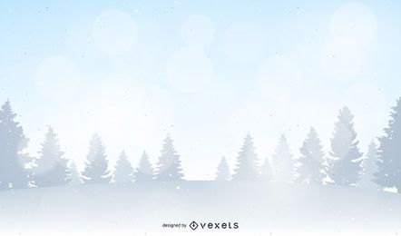 Winter forest landscape illustration