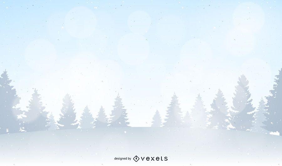 Ilustración de paisaje de bosque de invierno