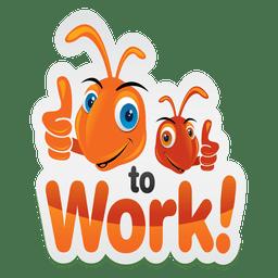 Logotipo de hardwork de formiga dos desenhos animados
