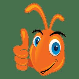 Formiga engraçada polegares para cima do ícone