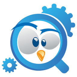 Logotipo divertido de la lupa del pájaro