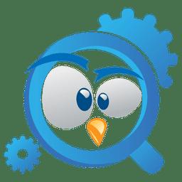 Logotipo engraçado do magnifier de pássaro